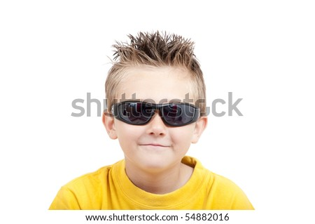Smiling boy with sunglasses, isolated on white background - stock photo