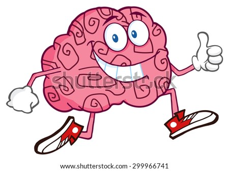 Smiling Brain Cartoon Character Jogging And Giving A Thumb Up. Raster Illustration Isolated On White - stock photo