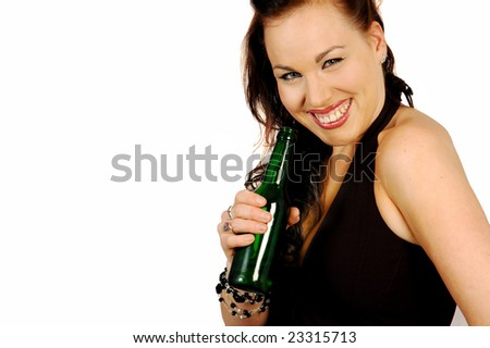 smiling brunette with a bottle of beer - stock photo