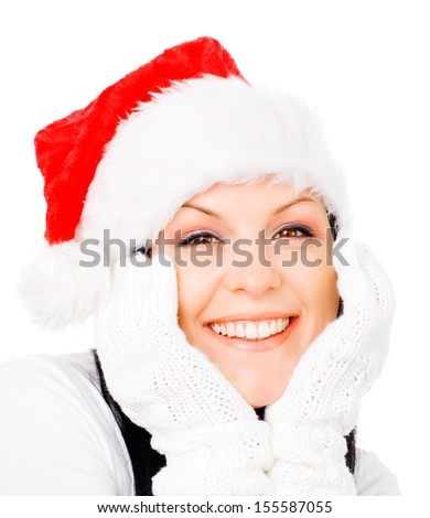 smiling brunette woman in winter christmas clothes over white - stock photo