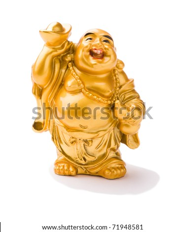 Smiling buddha statuette - stock photo