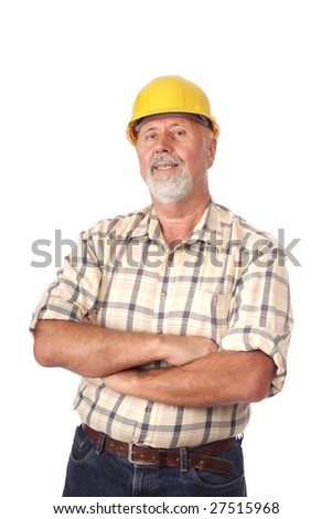 Smiling builder architect portrait isolated on white - stock photo