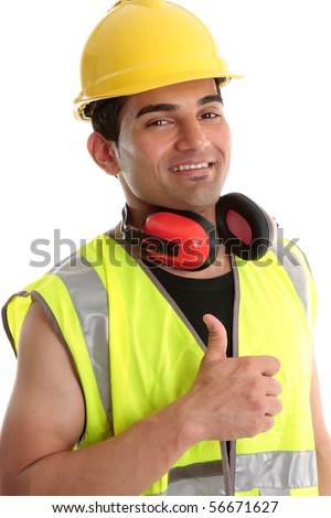 Smiling builder, construction worker or other trades man showing a  thumbs up sign. White background. - stock photo