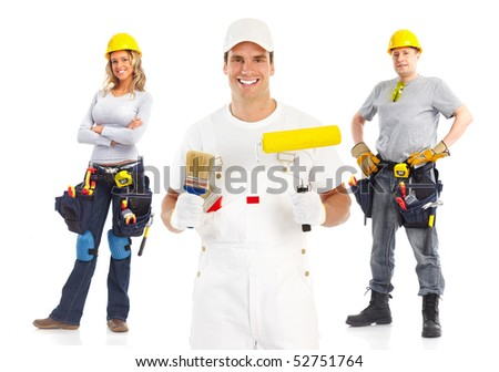 Smiling builder people. Isolated over white background - stock photo