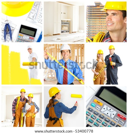 Smiling builders workers. Painter, contractor, architect - stock photo