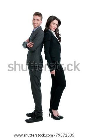 Smiling business couple standing together isolated on white background - stock photo