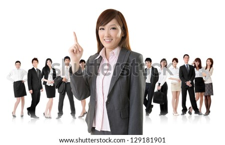 Smiling business executive woman of Asian have an idea in front of her team isolated on white background. - stock photo
