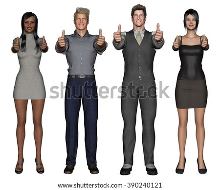 Smiling Business Group Giving Thumbs Up on White - stock photo