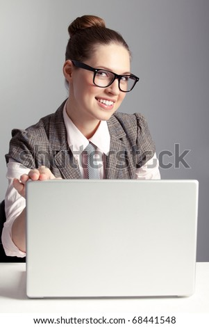 Smiling business lady - stock photo