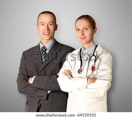 smiling business man and doctor isolated on different backgrounds - stock photo