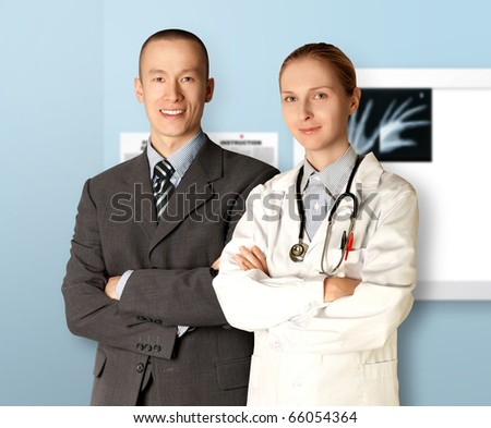 smiling business man and doctor isolated on different backgrounds