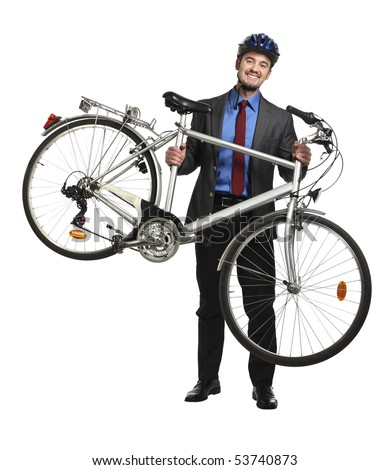 smiling business man hold his bicycle isolated on white - stock photo