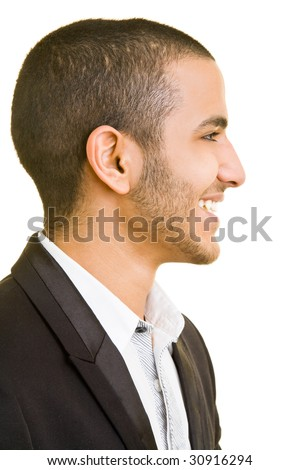 Smiling business man in side view - stock photo