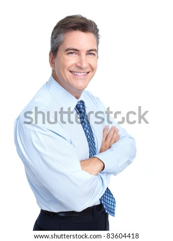Smiling business man. Isolated over white background - stock photo