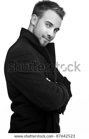 Smiling business man. Isolated over white background. Black-white photo. - stock photo