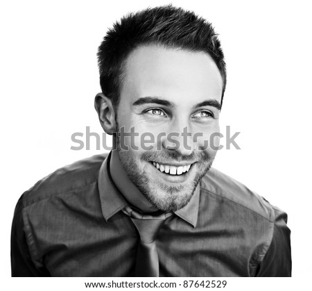 Smiling business man. Isolated over white background. Black-white photo. - stock photo