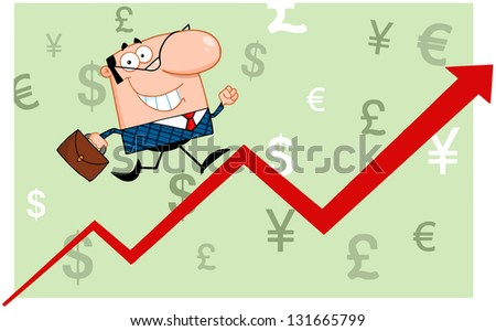 Smiling Business Man Running Upwards On A Statistics Arrow. Raster Illustration.Vector Version Also Available In Portfolio. - stock photo