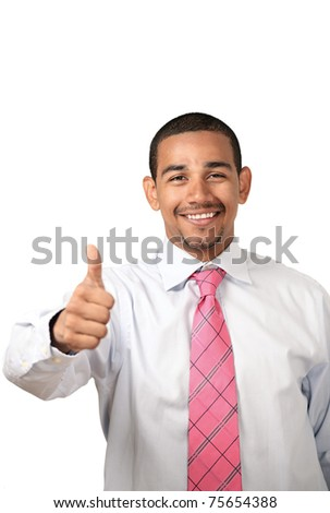 Smiling business man thumbs up sign - stock photo