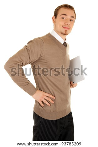 Smiling business man with documentation isolated on white. - stock photo