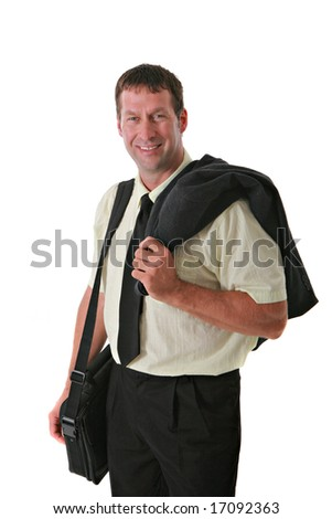 Smiling Business Man with Laptop suitcase Standing - stock photo