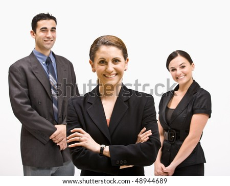 Smiling business people - stock photo