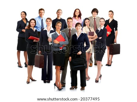 Smiling  business people. Isolated over white background - stock photo