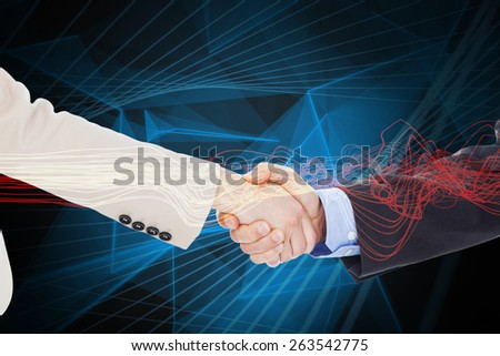 Smiling business people shaking hands while looking at the camera against blue design - stock photo