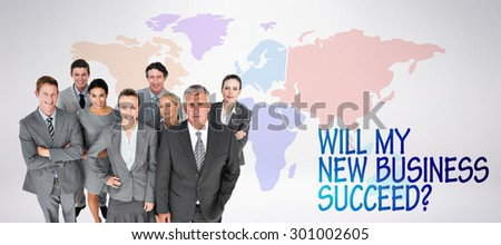 Smiling business people smiling at camera against grey background - stock photo