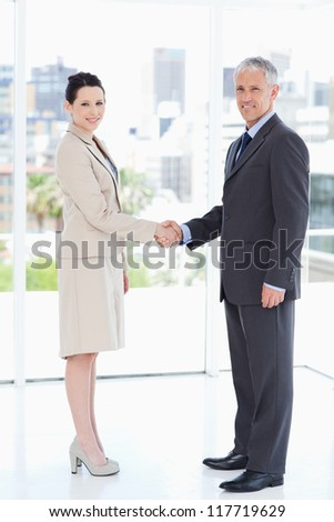 Smiling business people standing upright while warmly shaking hands - stock photo