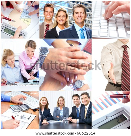 Smiling business people team working - stock photo