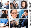 Smiling business people team working in the office - stock photo