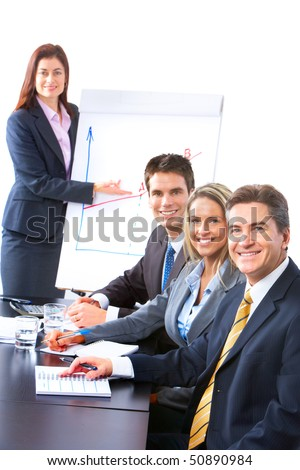 Smiling business people team working in the office