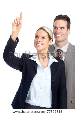 Smiling business team working. Over white background.