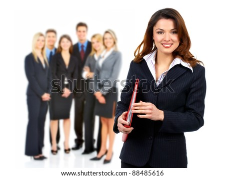 Smiling business woman and group of people. Isolated over white background - stock photo