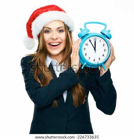 smiling business woman black suit dressed hold watch. Santa Christmas hat. white background isolated. - stock photo