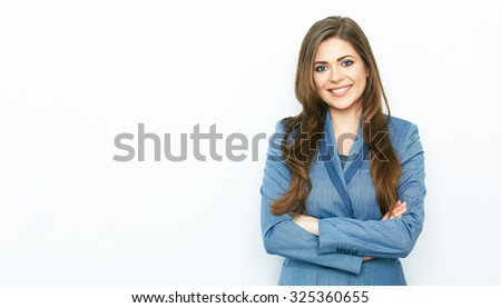 Smiling business woman blue suit dressed standing against white background with crossed arms. Copy space. - stock photo