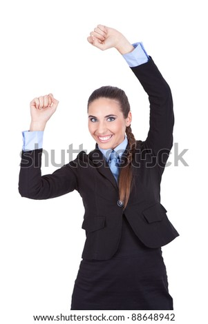 smiling business woman celebrating victory with arms raised, isolated on white background - stock photo