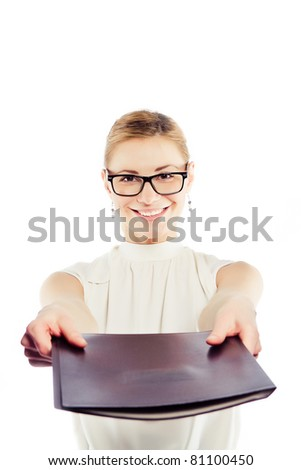 Smiling business woman giving the file - stock photo
