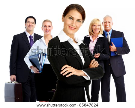 Smiling business woman. Group of people. Isolated over white  background.