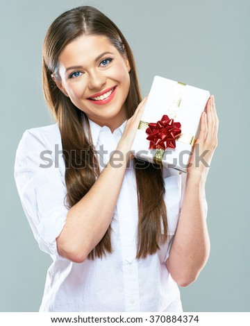 Smiling Business Woman Holding Gift Box Stock Photo ...