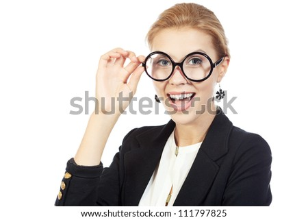 Smiling business woman in big round spectacles. Isolated over white background.