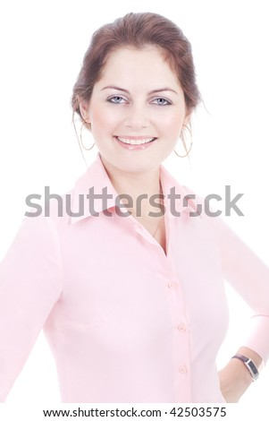 Smiling business woman in pink shirt isolated on white with selective focus - stock photo