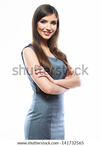 Smiling business woman isolated against white background. Business dress on female beautiful model.