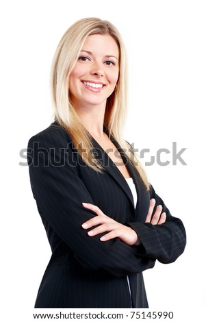 Smiling business woman. Isolated over white background - stock photo