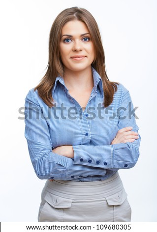 Smiling business woman isolated portrait - stock photo