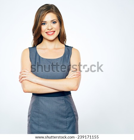 smiling business woman isolated portrait. confident woman standing against white background. - stock photo