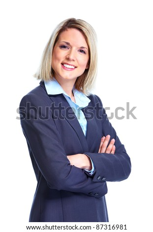 Smiling business woman lawyer. Isolated over white background - stock photo