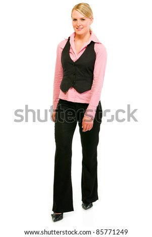 Smiling business woman making first step isolated on white - stock photo