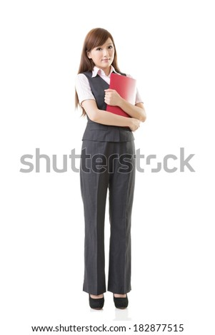 Smiling business woman of Asian, full length portrait isolated on white background. - stock photo