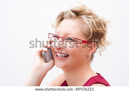 Smiling business woman on the phone. - stock photo